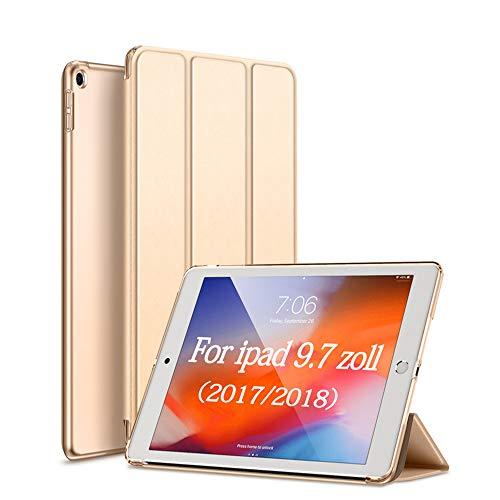aoub Hülle für iPad 9.7 2018/2017 Utradünn superleicht DREI Falten sturzsicher robust durchsichtige Rückseite Schutzhülle mit Auto Schlaf/Wach für iPad 6. Generation / 5. Generation,Gold