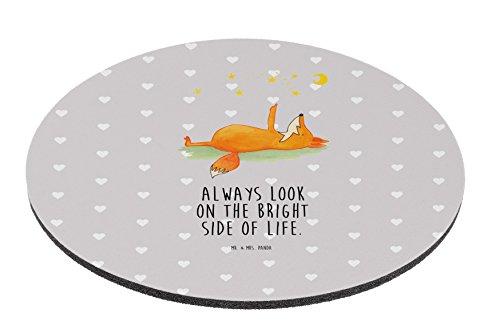 Mr. & Mrs. Panda Maus, Mousepad, Rund Mauspad Fuchs Sterne mit Spruch - Farbe Grau Pastell