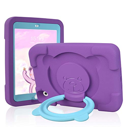 PZOZ Kids Case for Apple iPad Mini 1 2 3 7.9 inch, EVA Shockproof Rotate Handle Folding Stand Heavy Duty Protective Cute Boys Girls Cover for Mini 1st 2nd Gen 3th Generation (Purple)