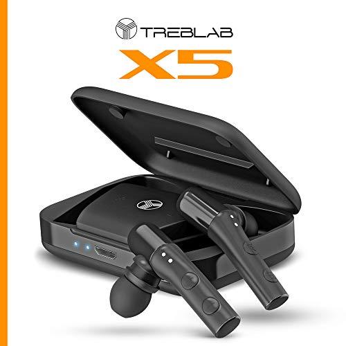 TREBLAB X5 - High-End Bluetooth Earbuds w/Beryllium Speakers - True HD Sound, Deep Bass, Best Sports Running Truly Wireless Headphones, Noise Cancelling Mic Microphone, Waterproof IPX4