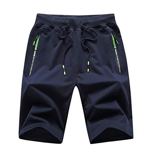 Xniral Herren Sweatshorts Einfarbig Tunnelzug Elastische Taille Sommer Sportliche Atmungsaktive Kurze Hose Jogginghose Boxing Shorts(b-Dunkelblau,M)