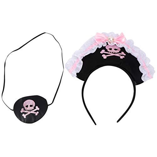 FRCOLOR Diadema Pirata Tocado de Cosplay de Halloween Accesorios de Fiesta Decoración de Disfraces Rosa Y Negro para Niñas Mujeres Adornos de Fiesta para Niños