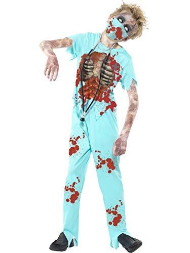 Luxuspiraten - Jungen Kinder Kostüm Horror Arzt Chirug Doktor mit Hose Oberteil Mundschutz und Stethoskop, Zombie Doctor, perfekt für Halloween Karneval und Fasching, 152-164, Türkis