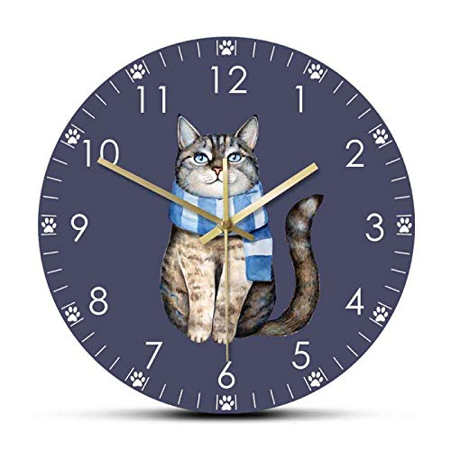 Reloj de pared lindo gris Tabby gatito vestido de tela azul a rayas bufanda de punto impreso reloj colgante de pared Pet Shop Decor reloj de oficina/hogar/escuela/cocina decoración relojes