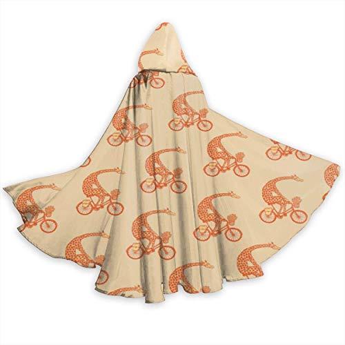 Capa de Capa para Adultos Jirafa en Bicicleta Capa con Capucha de Halloween de Longitud Completa Capa de fantasía de Navidad Disfraces para Mujeres y Hombres
