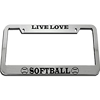 Chrome 2 Holes Speedy Pros Theres No Crying in Softball Zinc Metal License Plate Frame Car Auto Tag Holder