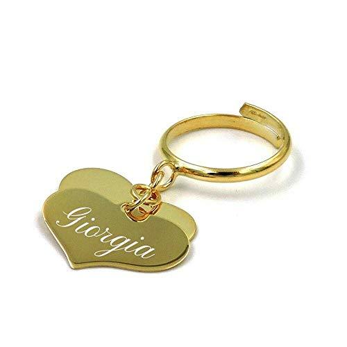 Anello in Argento 925 placcato oro giallo con due Ciondoli Pendenti a forma di Cuore Personalizzabili con Incisione Gratuita