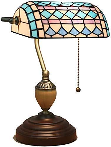 AWCVB Tiffany Style Lámpara De Mesa Banquero De Cristal Teñido Vintage Antiguo Luz Decoración Noche Soporte Sala De Estar Dormitorio