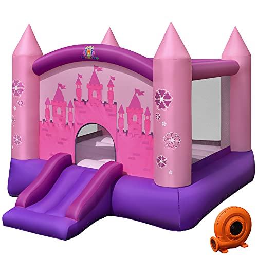 COSTWAY Castillo Hinchable con Tobogán para Niños con Soplador de 350W Centro de Juego con Bolsa de Transporte y Kit de Reparación para Parque Patio Jardín Exterior