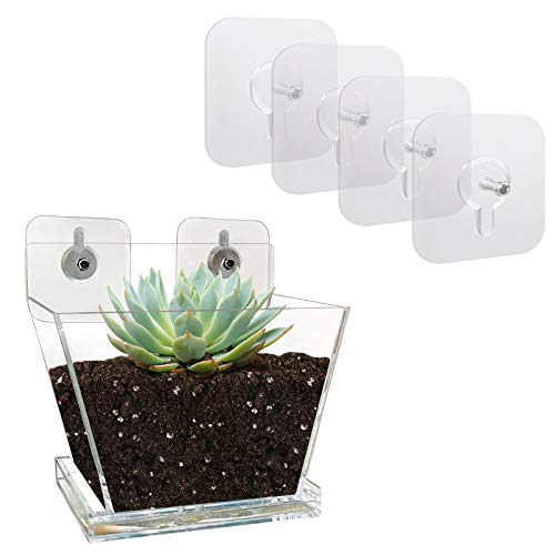 NIUXX Window Planter with Drain Tray, Flower Pot with Suction Stickers