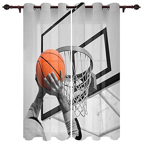 QGWMCD Cortinas Opacas de Salon Termicas,Baloncesto Gris Marrón para Ventana Dormitorio Moderno Infantiles Decorativos 140x215cm x2