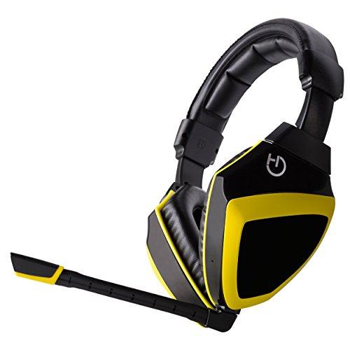 Hiditec - Auriculares XANTHOS con micrófono integrado, altavoces de 40mm, multiplataforma, color amarillo y negro