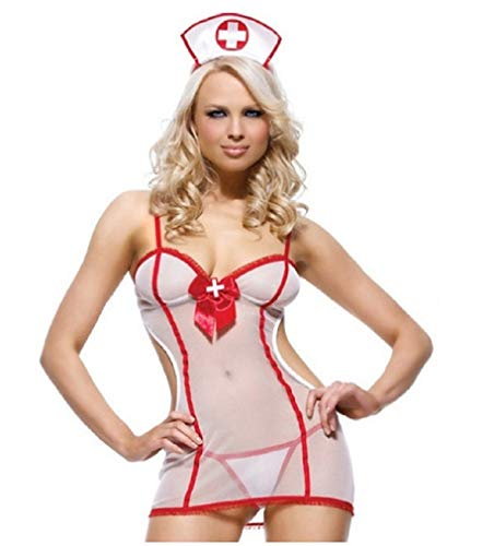 FONDBERYL Vestito Sexy Lingerie Intimo da Infermiera del Costume Erotico della Biancheria Intima dell Infermiera di Cosplay delle Donne