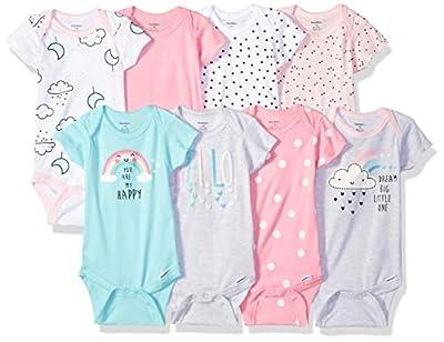 Gerber Baby 8-Pack Short Sleeve Onesies Bodysuits, Clouds, 3-6 Months by GERLO