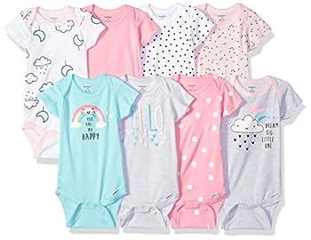 Gerber Baby 8-Pack Short Sleeve Onesies Bodysuits Clouds 12 Months