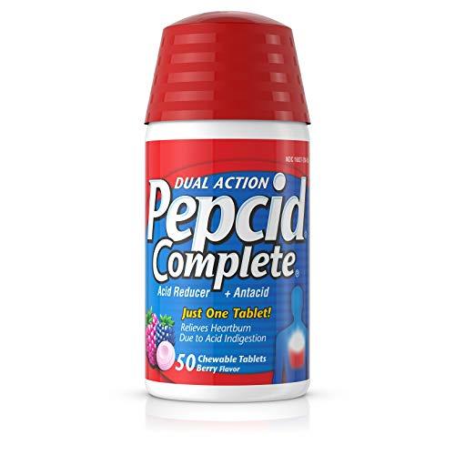 Pepcid Complete Acid Reducer + Antacid Chewable Tablets for Heartburn Relief, Berry Flavor, 50 ct.