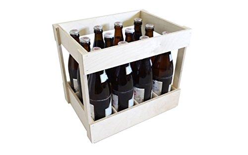 KF-Holz Flaschenträger für 12 Flaschen 0,5l Bier, Holzbierkiste, Bierkasten