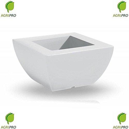 Fioriera Quadrata BIANCA In Resina CM 40 X 40 Vaso Quadrato LUX