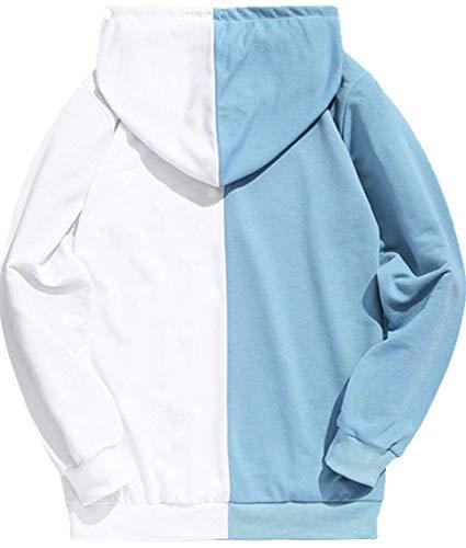 FLYCHEN Men's NARUTO Hoodies Color Stitching Inspired By Japanese Anime Uzumaki Naruto Uchiha Sasuke Hatake Kakashi Haruno Sakura Pullover Sweatshirts (L, Blue 5366)