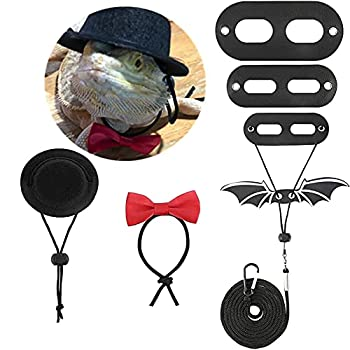 Bearded Dragon Lizard Leash Harness Adjustable Bat Wings with Hat & Bowknot Soft Leather Reptile Leash 3 Different Size S,M,L 3 Pack for Amphibians and Other Small Pet Animals