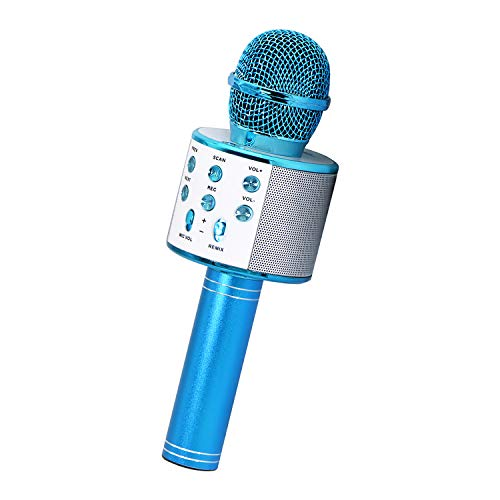 Popular Toys for 3-12 Year Old Girls Boys, Wireless Karaoke Bluetooth Microphone Karaoke Machine for Kids Girls Microphone for Kids Girls Birthday Gifts for 3-12 Year Old Girls Blue KIBM4