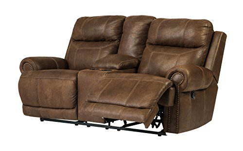 Signature Design by Ashley Austere  Double Reclininglining Power Loveseat with Console Brown