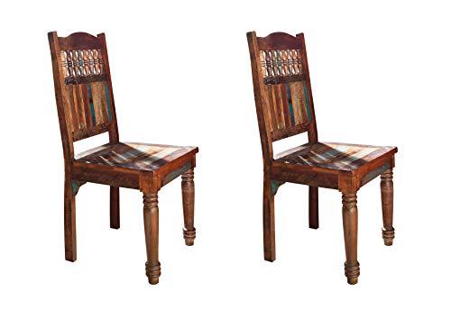 MASSIVMOEBEL24.DE Stuhl 2er Set Indisches Altholz lackiert Fable #05