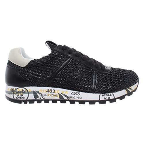 Zapatos Mujeres Sneakers PREMIATA Lucy-D 3663 Tejido Cuero Negro Lienzo Nuevos