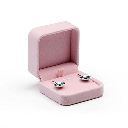 Oirlv Premium Velvet Earring Gift Box Pink Jewelry Storage Case Showcase Display