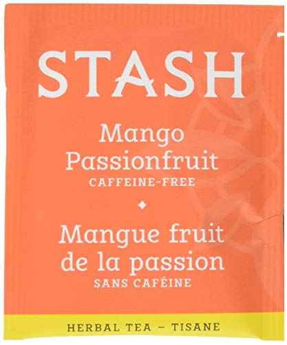 Stash Tea Mango Passionfruit Herbal Tea 100 Count Box of Tea Bags in Foil (packaging may vary) Individual Herbal Tea Bags for Use in Teapots Mugs or Cups, Brew Hot Tea or Iced Tea