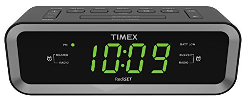 Timex T236BQX FM Dual Alarm Clock Radio with USB Mobile Device Charge Port, Black