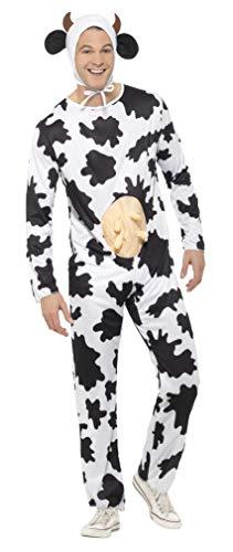 Smiffys Unisex Kuh Kostüm, Jumpsuit mit Euter und Kopfteil, Größe: One Size, 29115