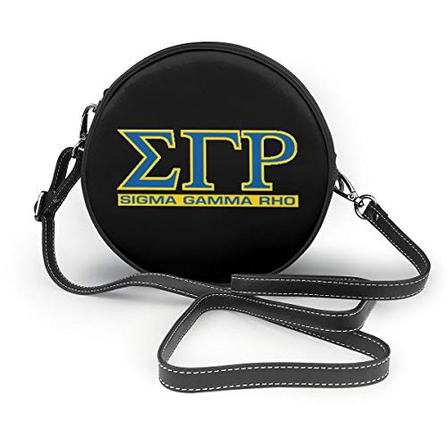 Sigma Gamma Rho Leather Round Crossbody Shoulder Bag Top Handle Tote Handbag Bag