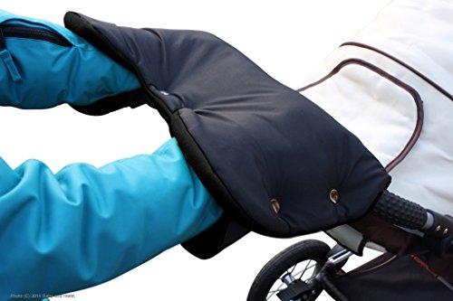 Byboom®-Calentador de manos para carrito, con forro polar interior, tamaño universal para cochecito, remolque infantil para bicicleta, color: negro