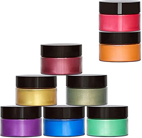 Powder Colorant - Epoxy Resin Dye - 8 Colors Mica Powder - Pearlescent Pigment - Great for Soap Making, Slime, Epoxy, Nail Polish, Paint (0.53oz Each)
