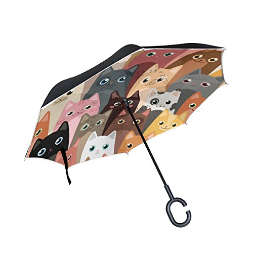 ALAZA Double Layer Inverted Cartoon Cats Umbrella Cars Reverse Windproof Rain Umbrella for Car Outdoor with C Shaped Handle