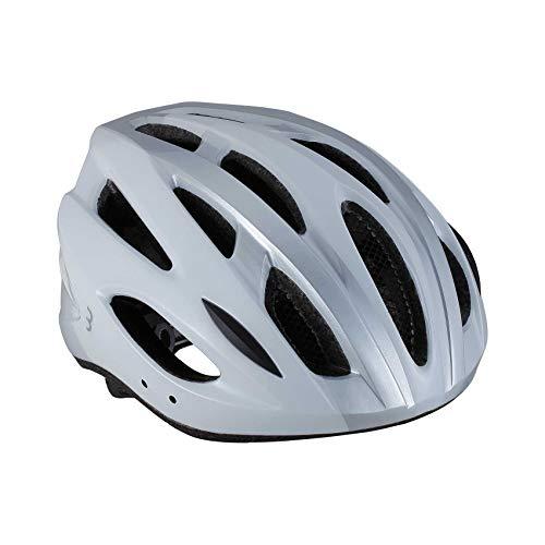 BBB Cycling Unisex-Adult Fahrradhelm Condor   Damen und Herren   Abnehmbaren Visier und Insektenschutznetz   MTB und Rennrad   BHE-35   Weiß/Silber M (54-58 cm), white/silver