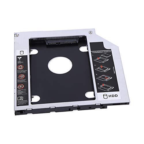 Disco Duro Optical Bay Caddy, 9,5 mm Aluminio SATA HDD SSD Carcasa Unidad de Disco Duro Bay Caddy Adaptador de DVD óptico para computadora portátil