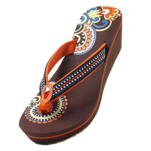 caihuashopping Anti-Slip Slippers Women's Sandals Herringbone Slip Non-slip Thick Bottom Ladies Shoes High Heels 2 Colors Summer Sandals (Color : Brown, Size : 7#)