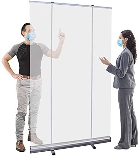 Protector de estornudos independiente, 120 cm de ancho x 199 cm de alto, protector transparente enrollable para suelo