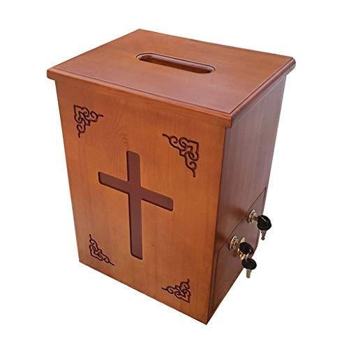 NCHEOI Massivholz Geschnitzte Widmung Box Mailbox Desktop Spendenkastenkirche Fundraising Box Kirche Widmung Box, Wandmontage/freistehender doppelter Gebrauch, Sicherheit abschließbar mit 4 Tasten,