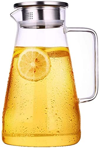 aipipl Taza Tetera para el hogar Botella de Agua fría Tetera de Vidrio Resistente al Calor Alta Temperatura Ebullición Blanco Taza de Agua fría Olla de Corbata Botella de Agua Gran Capacidad Taza d
