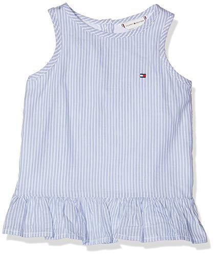 Tommy Hilfiger Baby-Mädchen Endearing Stripe Slvls Top Weiß (Bright White 123), Herstellergröße: 86