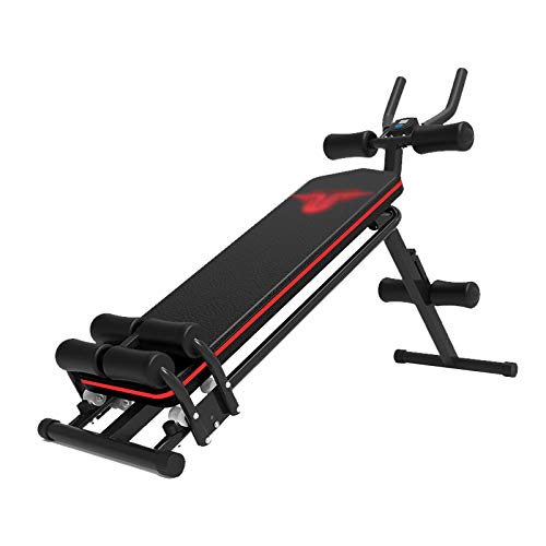 Klappbare verstellbare Situp Sit Up Bauch Bauch Bank Bank Bauch Abs Core Trainer Home Gym Übung - Schwarz + Rot (Color...