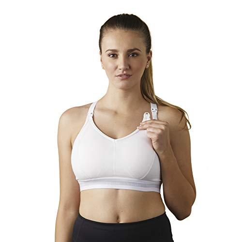 BRAVADO! DESIGNS Women's Original Full Cup Maternity & Nursing Sleep Bra in Cotton-Modal, White, Small - Full Cup