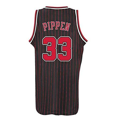 LCY Herren-Basketball-Jersey - NBA Trikot Bulls # 33 Pippen Retro Breathärmel Sports Fitness T-Shirts Fans Basketball-Trikot,B,L(180CM/75~85Kg)