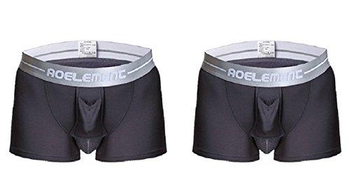 メンズ ボクサーパンツ 陰嚢分離型 3D 爽やか感触 網ポケット付き 前開き機能 トイレ楽々 (L(日本Mサイズ相当), グレー2枚セット)