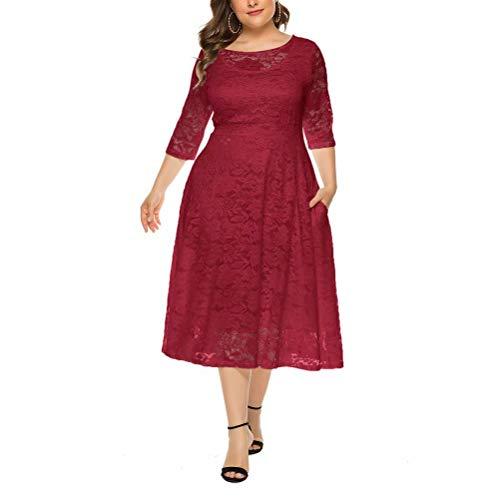 Vestido Fiesta Mujer Talla Grande Vestidos Encaje Cuello Redondo Vestido Cóctel con Manga 3/4 Vino Tinto 3XL