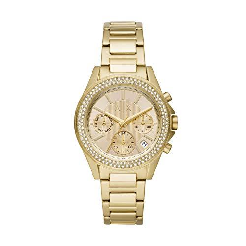 Armani Exchange AX5651 Damen-Armbanduhr, Quarz, Kristall, goldfarbenes Zifferblatt