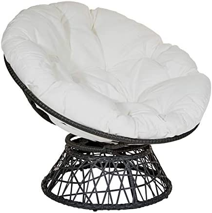Best OSP Designs Papasan Chair with 360-degree Swivel, White Cushion and Black Frame
